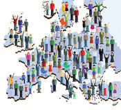 People on map of Europe Royalty Free Stock Photos