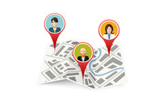 People on map gps location icon isolated Stock Photography