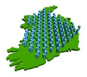 People on map of Ireland Stock Image
