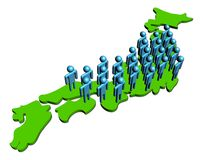 People on map of Japan Stock Image