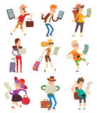 People with maps vector. Stock Photo
