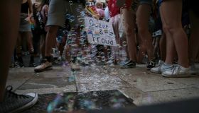 People march during LGBT pride celebrations in mallorca stock image