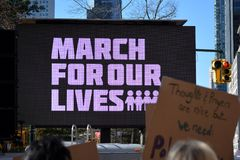 March for our Lives Manhattan. People at the March for our Lives rally against gun violence in New York City Stock Photos