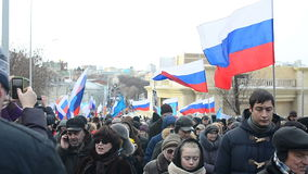 People on a march in Russia, Moscow, 2016. People on a Boris Nemtsov march in Russia, Moscow, april 2016 stock video footage