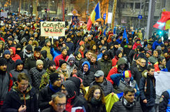 People marching against the government in Bucharest Royalty Free Stock Photography