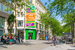 People in Mariahilfer Strasse in Vienna, Austria Royalty Free Stock Image