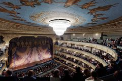 People in the Mariinsky theater, St. Petersburg before the performance. St. Petersburg, Russia - March 9, 2017: People in the historical building of Mariinsky Royalty Free Stock Photo