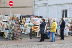People at the market with arts and paintings in Vilnius, Lithuania Stock Image