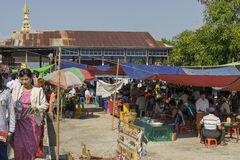 People on market. People on the market (gala) on Inle Lake during the feast of Buddha in Myanmar (Burma Royalty Free Stock Image
