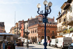 People on market on Piazza delle Erbe, Verona Royalty Free Stock Image