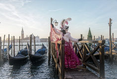 People in masks and costumes on Venetian carnival. People from all over the world come to the Venice Carnival Royalty Free Stock Photos