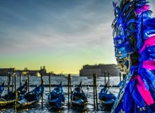 People in masks and costumes on Venetian carnival. People from all over the world come to the Venice Carnival Stock Image