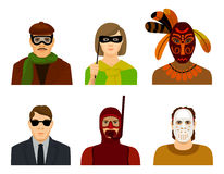Icons with people in masks and glasses Stock Photography