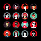 People in masks.Halloween avatar set. Flat style. Fiction heroes icons. People heads in masks.Halloween avatar set. Flat style. Sci-fi heroes icons Royalty Free Stock Photos