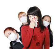People in masks, ill flu, A(H1N1), Stock Photos