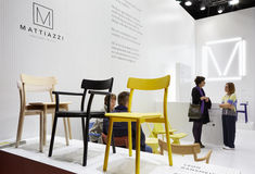 People at Mattiazzi stand during Salone del Mobile Stock Photography