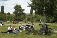 People in Mauerpark, Berlin, Germany. People enjoy a sunny Sunday picnic at Mauerpark in Berlin on June 10, 2012 Stock Photography