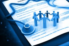 People with Medical and health insurance. Claim form and stethoscope Royalty Free Stock Image