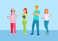 People with a medical profession. Doctors and nurses in uniform. Medical staff. Isolated icon on blue background. Vector illustration Stock Photos