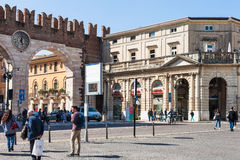 People and medieval Bra Gates in Verona Royalty Free Stock Images