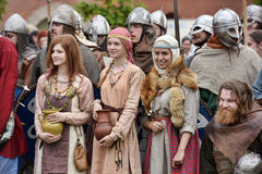 People in medieval clothes Royalty Free Stock Photography