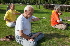 People meditating in a city park Royalty Free Stock Image