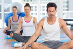 People in meditation pose with eyes closed at fitness studio Stock Image