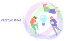 People meeting business concept creative idea. Man flying gadgets tablet light bulb lamp symbol working project growth Royalty Free Stock Images