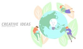 People meeting business concept creative idea. Man flying planet Earth save ecology leaf gadgets tablet light bulb lamp Royalty Free Stock Images