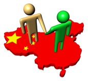 People meeting on China map flag Royalty Free Stock Photo