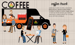 People meeting in the coffee food truck infographics elements.il Royalty Free Stock Photo