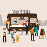 People meeting in the coffee food truck infographics Stock Photography