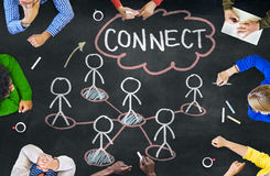 People in a Meeting and Connection Concepts Stock Photo