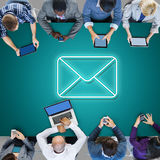 People in a meeting with envelope icon Royalty Free Stock Images