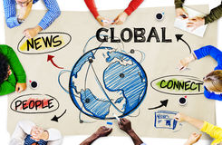 People in a Meeting and Global Network Concepts Royalty Free Stock Photography
