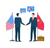 People at Meeting, Partners from US and China. People at conference agreeing on issue vector, partners wearing formal suits, flags of China and USA, male with royalty free illustration