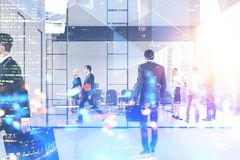 People in meeting room, cityscape royalty free stock photo