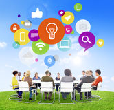 People Meeting with Social Media Symbols Royalty Free Stock Images