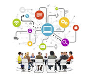 People in a Meeting with Social Networking Concepts Stock Photo