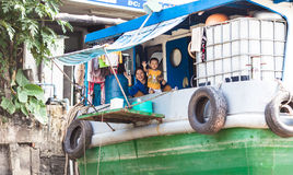People of Mekong Delta, Cai Be, Vietnam. Mekong Delta, Cai Be District, Tien Giang Province, Cai Be Town, Cai Be Floating Market, South Vietnam, local people at Royalty Free Stock Images
