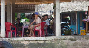 People of Mekong Delta, Cai Be, Vietnam. Mekong Delta, Cai Be District, Tien Giang Province, Cai Be Town, Cai Be Floating Market, South Vietnam, locals enjoying Stock Photo