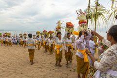 People during Melasti Ritual - one of the most important rituals of Bali Royalty Free Stock Photography