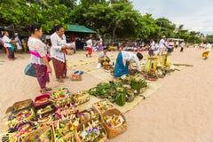 People during Melasti Ritual. Royalty Free Stock Photos