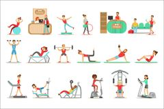 People Member Of The Fitness Class Working Out, Exercising With And Without Equipment, Training In Trendy Sportswear. Healthy Lifestyle And Fitness Set Of vector illustration