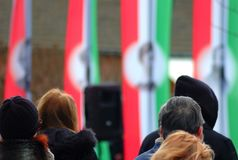 People on a memorial. Hungarian independes day. stock photo