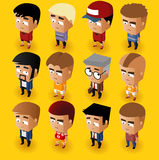 People Men Isometric Set Royalty Free Stock Images