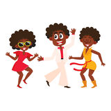 People, men and women, dancing at retro disco party Royalty Free Stock Photo
