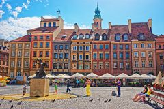 People at Mermaid at Old Town Market square in Warsaw Royalty Free Stock Image