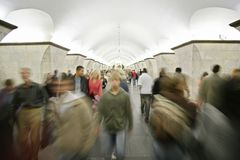 People in metro. Many people move in metro stock image