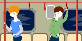 People in metro. Boy and girl. Teenagers in train. Situation. Cartoon characters flat style vector illustration.Children inside a subway train. People metro Stock Images